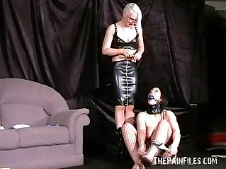 Bizarre lesbian domination of my fair subbie being whipped and punish