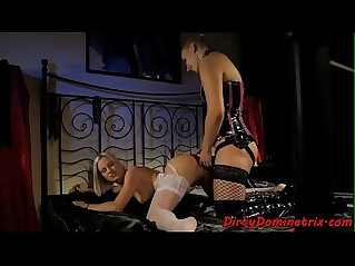 Eurobabe punishes young chick plays with huge strapon