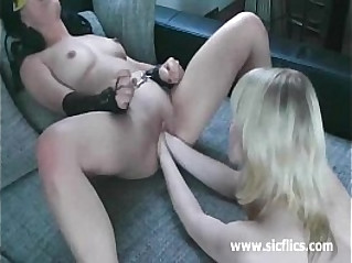 Hot brunette double fucked in handcuffs